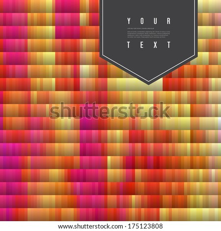 Abstract colorful digital noise texture with black text box  Eps 10 vector illustration  - stock vector