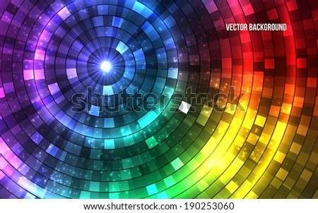 Abstract Colorful Disco Lights. Tunnel. Vector illustration - stock vector