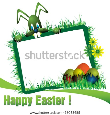 Abstract colorful Easter frame with green bunny, green flowers, grass and colored eggs. Easter concept