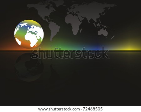 abstract colorful effect background with map, globe