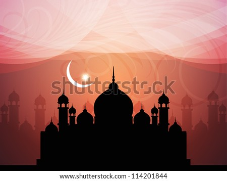 abstract colorful eid background with mosque. - stock vector