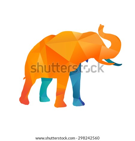 Abstract colorful elephant on white background, vector illustration