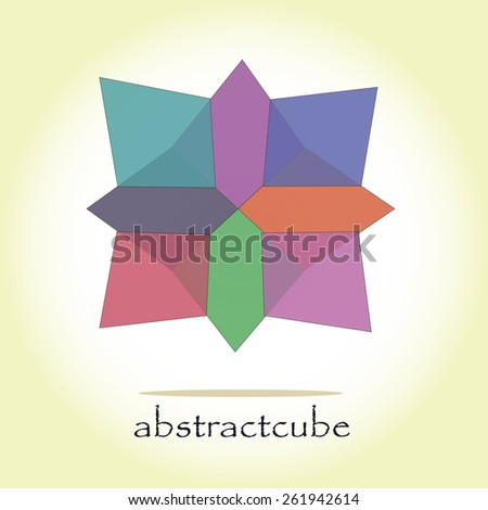 Abstract colorful figure, vector illustration with yellow background - stock vector