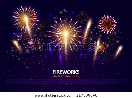 Abstract colorful fireworks background. Christmas lights. Vector illustration.  - stock vector