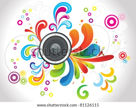 abstract colorful floral with sound vector illustration - stock vector