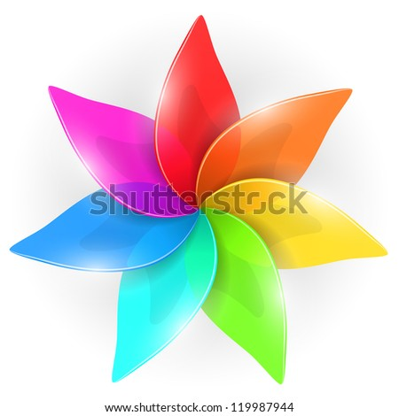 Abstract colorful flower bud with rainbow colored petals isolated on white background. - stock vector