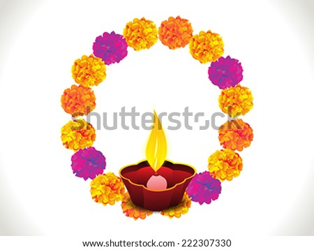 abstract colorful flowers circle diwali background vector illustration - stock vector
