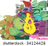 abstract colorful fruits and vegetables background (vector) - stock vector