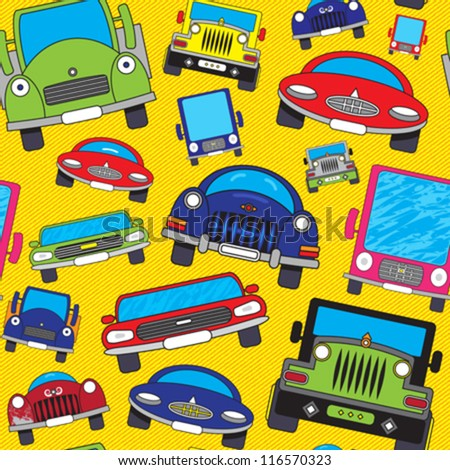 Abstract Colorful Funny Cars Print Background Stock Vector (2018 ...