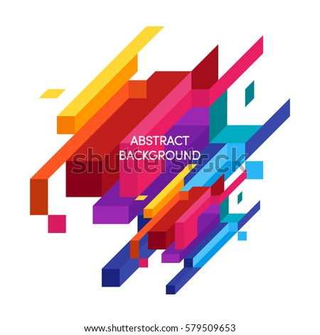 Abstract colorful geometric isometric background, can be used for wallpaper, template, poster, backdrop, book cover, brochure, leaflet, flyer, vector illustration