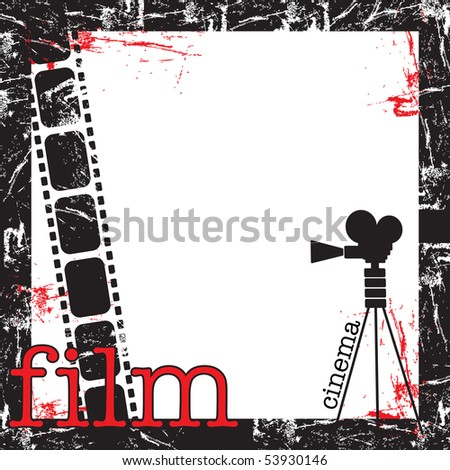 Abstract colorful grunge film frame with movie projector shape, filmstrip and the word film written with red letters - stock vector