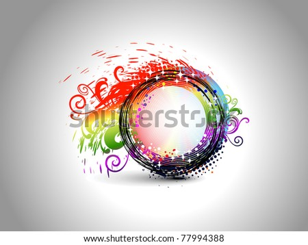 abstract colorful grunge, floral decorated frame, vector illustration