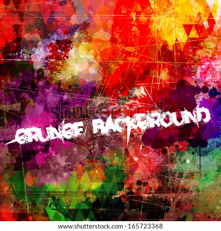 Abstract colorful grunge style artistic background with distressed effect - stock vector