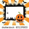 Abstract colorful Halloween frame with pumpkin, flying witch, spider and bats - stock photo