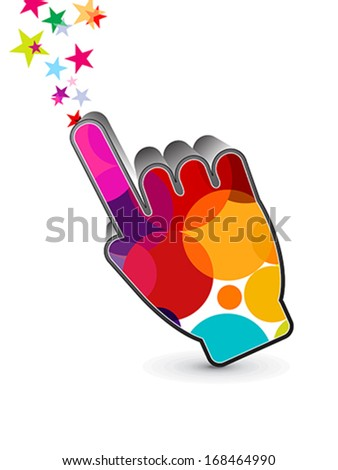 abstract colorful hand cursor icon vector illustration - stock vector