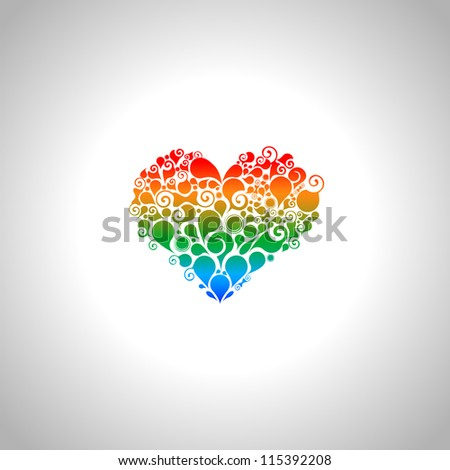 Abstract colorful heart - stock vector