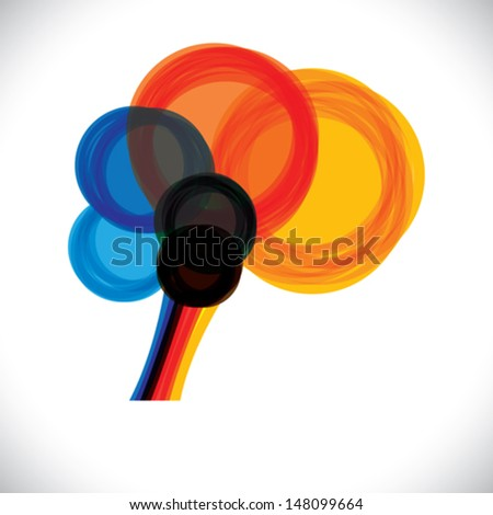 abstract colorful human brain icon or sign- simple vector graphic. This illustration represents a person's mind as colorful rings or circles of thought, intelligence, creativity, learning, etc - stock vector