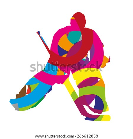 Abstract colorful ice hockey goalie - stock vector