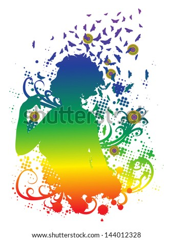 Abstract colorful illustration of a female profile with butterflies. - stock vector