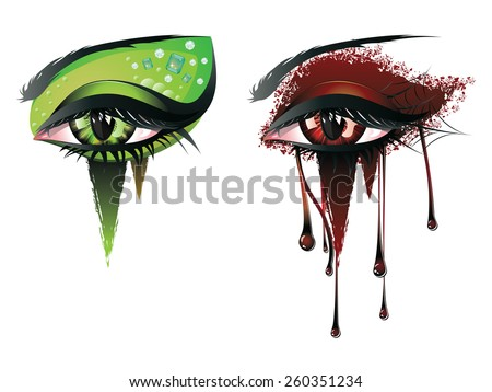 Abstract colorful illustration of vampire eye makeup in carnival style. - stock vector