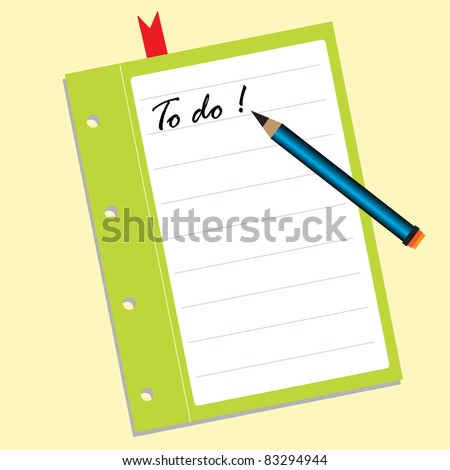 Abstract colorful illustration with a blue pencil and a piece of paper on which is written the text to do. List for things to do concept - stock vector