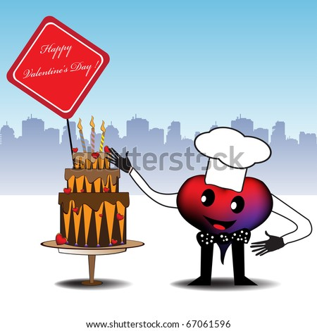 Abstract colorful illustration with a heart dressed as a cook and presenting a beautiful cake made especially for Valentine's Day - stock vector