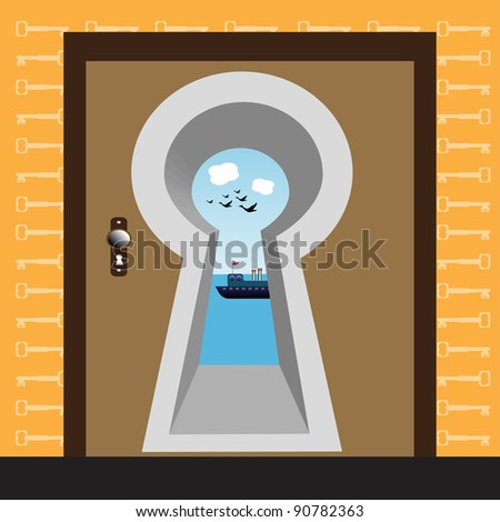 Abstract colorful illustration with a huge keyhole built in a door and on the other side of the door a beautiful seascape with a ship floating in sea waters - stock vector
