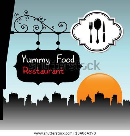 Abstract colorful illustration with a restaurant plate with the text Yummy Food restaurant hanging on a building - stock vector