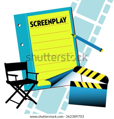 Abstract colorful illustration with a screenplay notebook, director chair, clapboard and filmstrip. Film screenplay theme