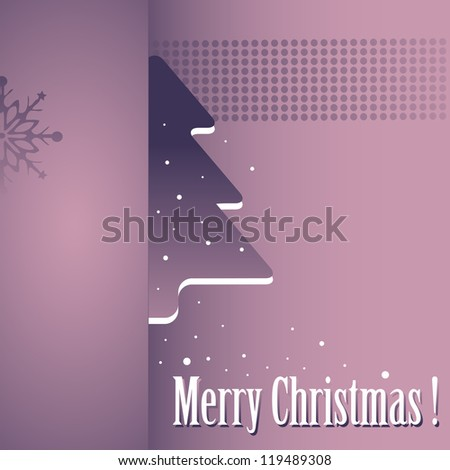 Abstract colorful illustration with a small hidden fir tree, snowflakes and the text Merry Christmas written with white letters
