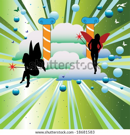 Abstract colorful illustration with angel silhouettes, butterflies, colorful clouds, blue bubbles and two colums symbolizing the gates of heaven - stock vector