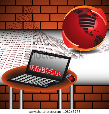 Abstract colorful illustration with brick wall, red globe, table and a laptop on which is written the text firewall with red capital letters. Computer security theme - stock vector