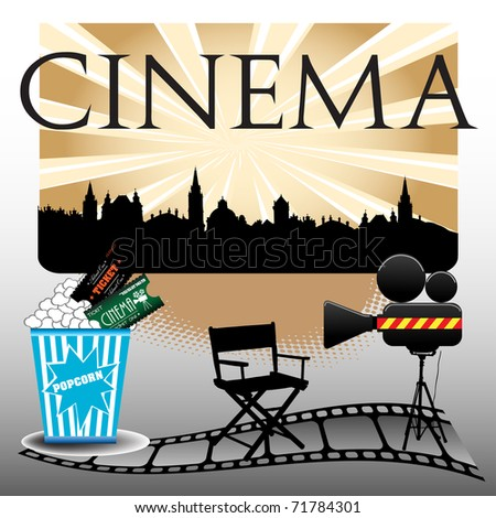 Abstract colorful illustration with cinema screen, popcorn, cinema tickets, movie camera and filmstrip - stock vector