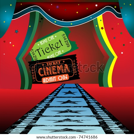 Abstract colorful illustration with cinema tickets and colorful curtains of a cinema stage - stock vector
