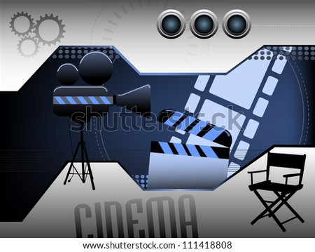Abstract colorful illustration with clapboard, movie projector, film strip and a director chair. Cinema theme - stock vector