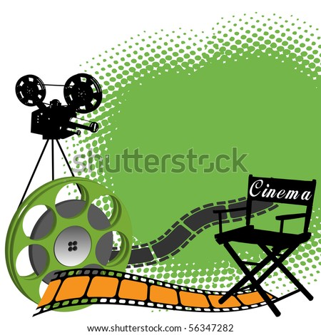 Abstract colorful illustration with director chair, filmstrip, film role and black movie projector shape. Cinema concept - stock vector