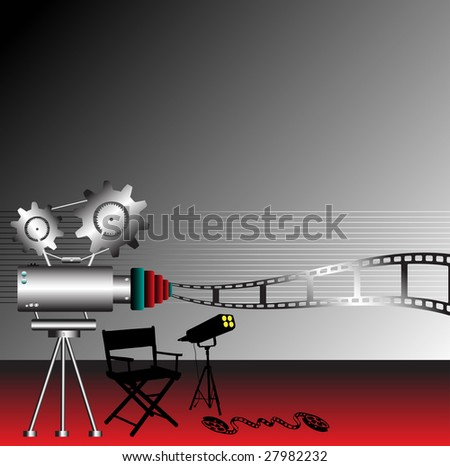 Abstract colorful illustration with director chair shape, film reel, metallic movie projector and light projector - stock vector