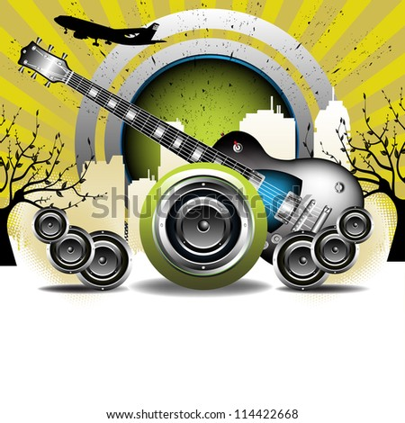 Abstract colorful illustration with electric guitar, loudspeakers and building shapes. Urban party concept - stock vector