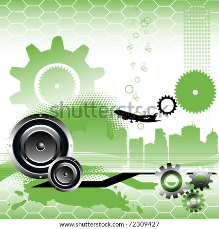 Abstract colorful illustration with gears, building shapes, loudspeakers, stripes and a plane shape. High tech concept - stock vector