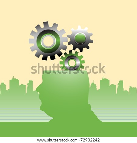 Abstract colorful illustration with gears coming out from a man's head. Thinking concept - stock vector