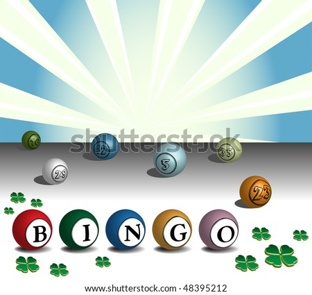 Abstract colorful illustration with green clovers and colored bingo balls. Gambling concept - stock vector