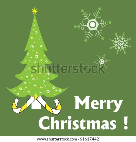 Abstract colorful illustration with green decorated Christmas tree, various snowflakes and the text Merry Christmas written with white letters. Christmas card concept