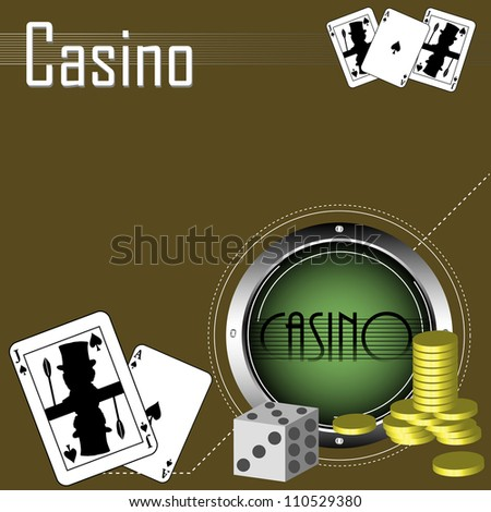 Abstract colorful illustration with metallic circle, golden coins, dices and poker cards. Casino theme - stock vector