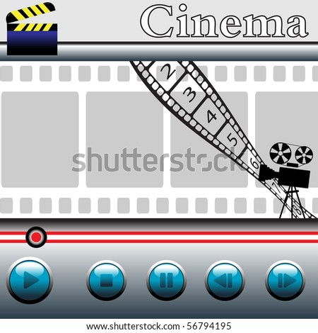 Abstract colorful illustration with movie player with blue buttons, clapboard, numbered filmstrip, movie projector and the word cinema written above the movie player - stock vector