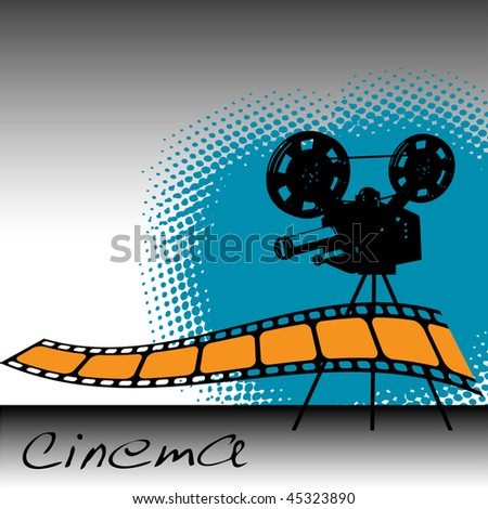 Abstract colorful illustration with movie projector, film strip and the word cinema written on the bottom of the image - stock vector