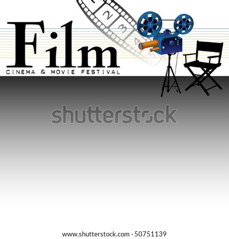 Abstract colorful illustration with numbered film strip, projector and movie director's chair. Film festival concept - stock vector