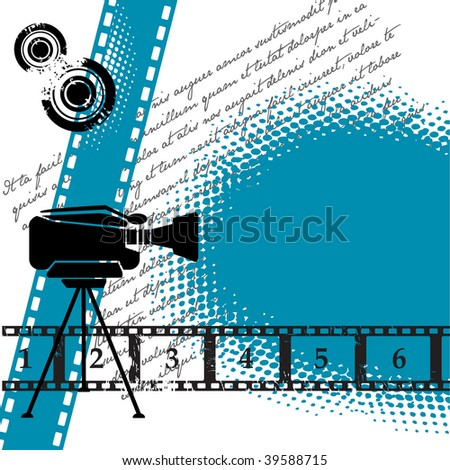 Abstract colorful illustration with numbered filmstrip, grunge circles, and movie camera. Cinema theme - stock vector