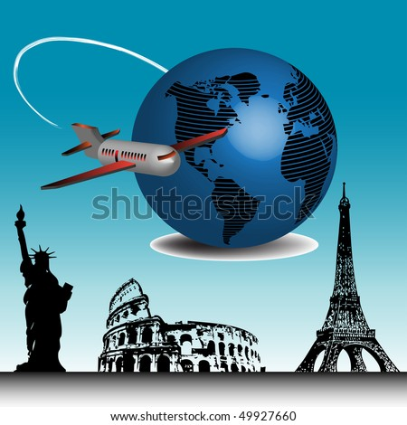 Abstract colorful illustration with passenger plane travelling around the world and a few important landmarks from all over the world - stock vector