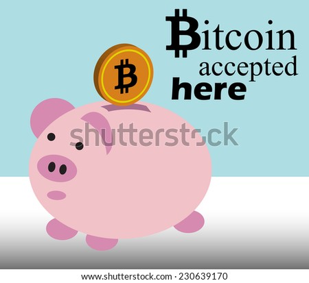 Abstract colorful illustration with piggy bank, golden coin and the text bitcoin accepted here written with black letters - stock vector