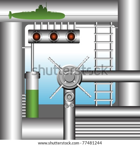 Abstract colorful illustration with pipes, inside stairs, metallic objects and metallic rudder. Submarine interior concept - stock vector